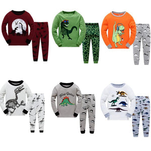 LUCKYGOOBO Kids Pajamas Set Boys Dinosaurs printing Sleepwear pyjamas Set 2-7Y Children's Home pajamas Baby Boy Clothing