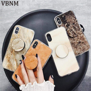 Luxury Marble Phone Cases For Iphone X 10 Cover Grip Ring Stand Holder Soft Tpu 7 8 6 6S Plus Case Coque Orange Brown White