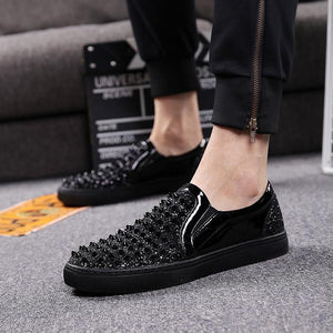 Luxury Men Loafers Black Diamond Rhinestones Spikes Shoes Rivets Casual Flats Sneakers
