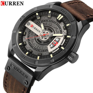 Luxury Men Military Sports Watches Men's Quartz Date Clock Man Casual Leather Wrist Watch