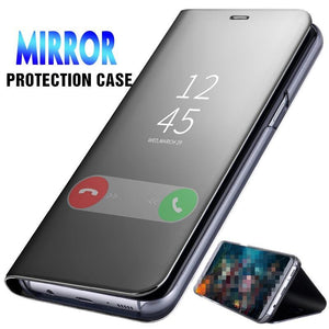 Luxury Mirror Flip Phone Case For Huawei P Smart P10 P20 Lite Pro Clear View Stand Cover Mate 10 Cases