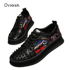 Luxury Punk Skull Metal Rivet Top Men Trainers Shoes Casual Platform Sneakers Prom Dress Loafers Sapato - Xodeys.com