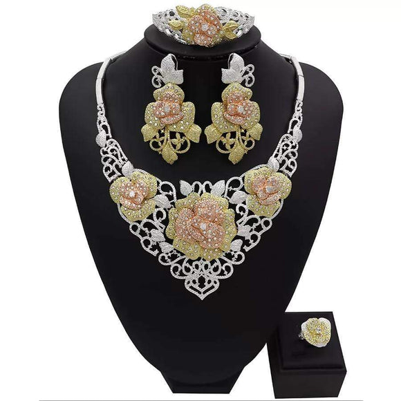 Luxury Rose Flower Cubic Zirconia Earring Necklace Set Indian African Bridal Jewelry Sets For Women