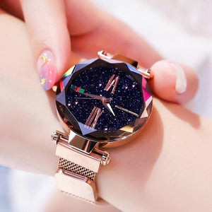 Luxury Women Watches Ladies Rose Gold Watch Starry Sky Magnetic Waterproof Female Wristwatch