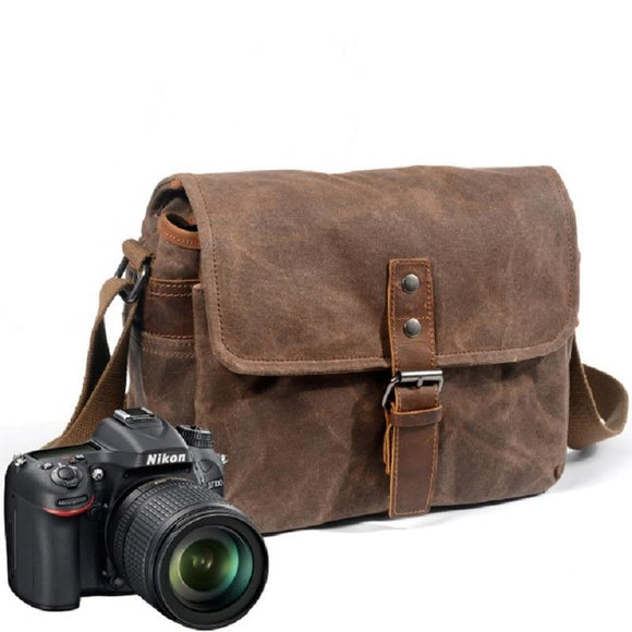 M233 Retro Waterproof Camera Bag Photography Package DSLR Shoulder Case for Sony Nikon Canon Canvas Micro Single Messenger Men