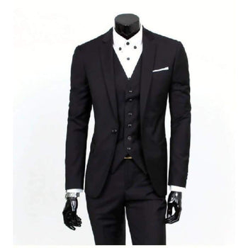 Male boutique a three-piece suits jacket blazers / men's one button for business suit sets male pants +vest waistcoat