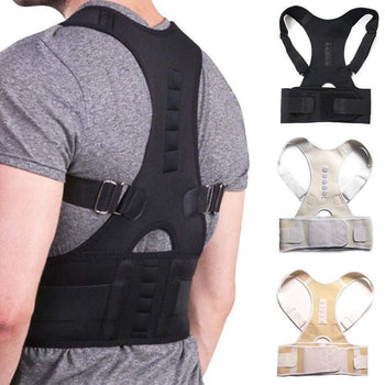 Male Female Adjustable Magnetic Posture Corrector Corset Back Brace Belt Lumbar Support Straight De Espalda S-Xxl White