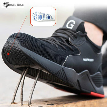 Male Steel Toe Work Safety Shoes Men Boots Breathable Outdoor Casual Sneaker Anti-smashing Piercing Work Safety Boot Mens