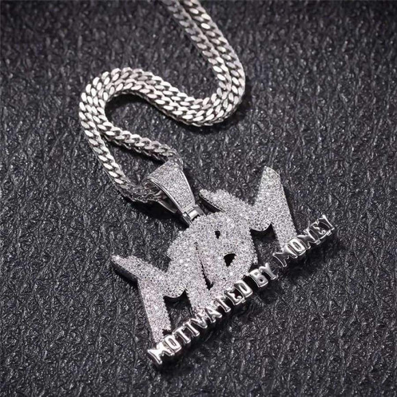 Mbm Men's Iced Out Letters Pendant Necklace