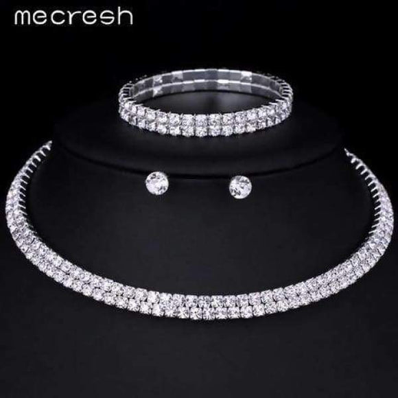 Mecresh Silver Crystal Bridal Jewelry Set