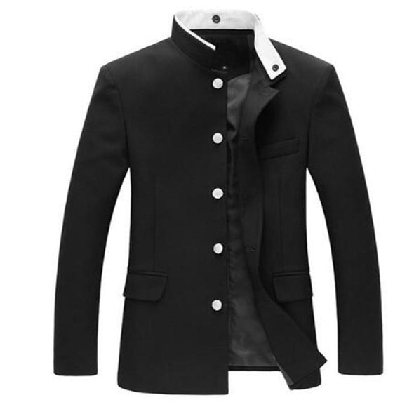 Men Black Slim Tunic Jacket Single Breasted Blazer Japanese School Uniform Gakuran College Coat 047-4842