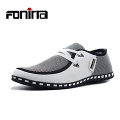 Men Casual Shoes Breathable Light Flats Leather Loafers Slip On Men's Driving Plus Size Fonterra 38-47 176 White Blue