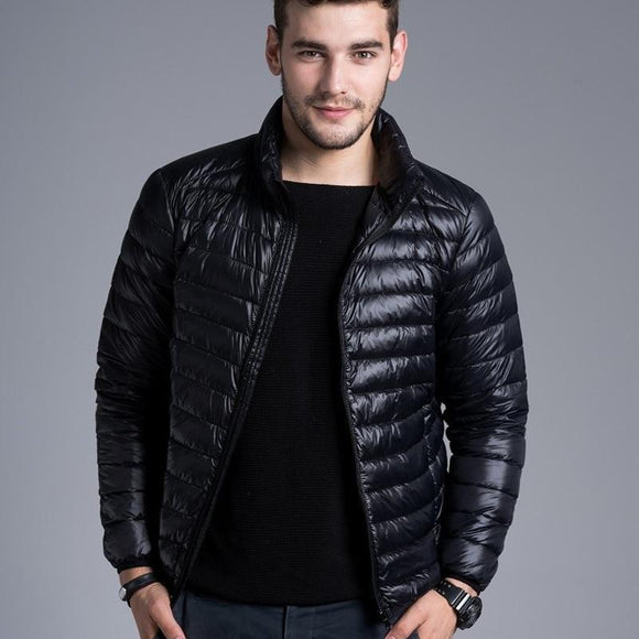 Men Casual Warm Jackets solid thin breathable Winter Jacket Mens Outdoors Coat Lightweight Parka Plus size XXXL hombre jaqueta
