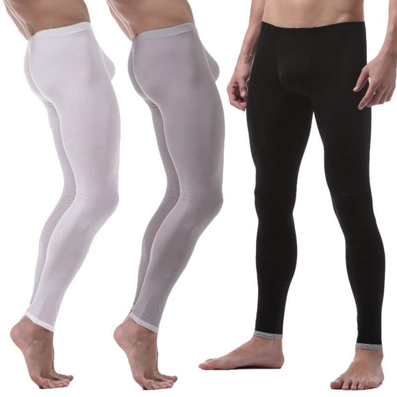 Men Long Johns Warm Pants Thin Section Nylon Transparent Sexy Gay Underwear Tight Legging Size XL