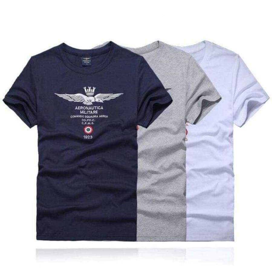 Men Short Sleeve Shirts Air Force One T-Shirt Aeronautica Militare White-Apparel & Accessories > Clothing > Shirts & Tops-gray-S-Xodeys
