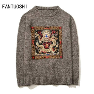 Men Sweater Autumn Pullover Slim Fit Long Sleeve Mens Knitted Sweaters Male O-Neck Dragon Pattern Plus Size 5Xl
