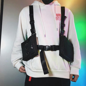Men Tactical Double Swat Bag Chest Rig Adjustable Waistcoat Kanye West Hip Hop Streetwear Functional Waist Packs