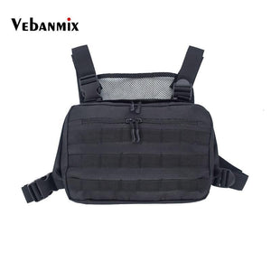 Men's Black Chest Bag Adjustable Oxford Tactical Rig Hip Hop Streetwear Functional Shoulder Waist Packs Kanye West