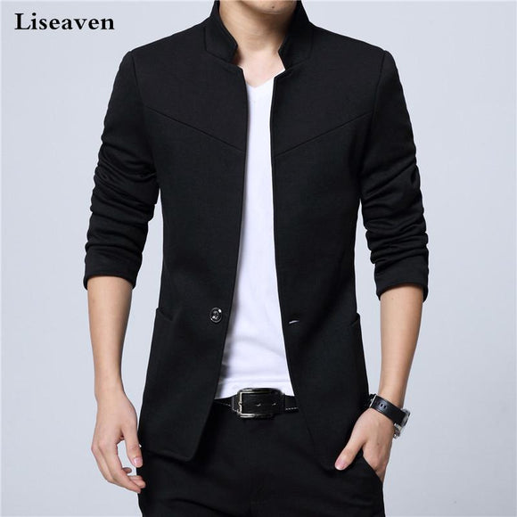 Men's Blazers Suit Jacket Mandarin Collar Casual Man For Men Blaser 3Xl 4Xl 5Xl 6Xl Plus Size Male Blazer Cotton Polyester Black M
