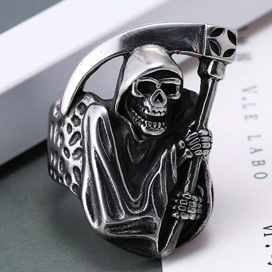 Mens Boys Vintage Rugged Skull Rings Punk Party Biker Jewelry With A Sickle Ring Halloween Explosion