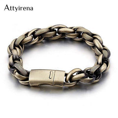 Men's Charms Bracelet Bronze Color & Red Stainless Steel Retro 13 Mm Wide Chain Link Biker Jewelry Bangles - Xodeys.com