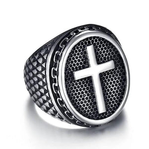 Men's Cross Knight Templar Crusaders Stainless Steel Signet Ring