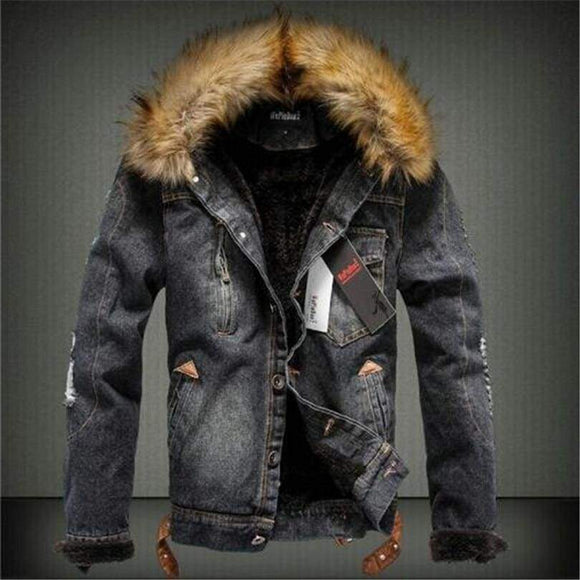 Men's Denim Jacket With Fur Collar Retro Ripped Fleece Jeans & Coat For Autumn Winter Blue Black Black 4XL