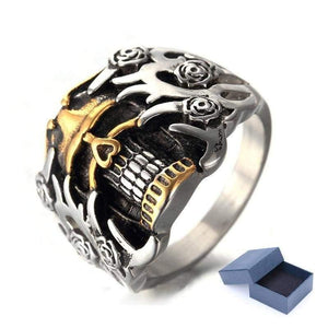 Men's Exaggerated Flower Skull Rings Stainless Steel Gold Skeleton Silver Man Ring Vintage Biker Finger