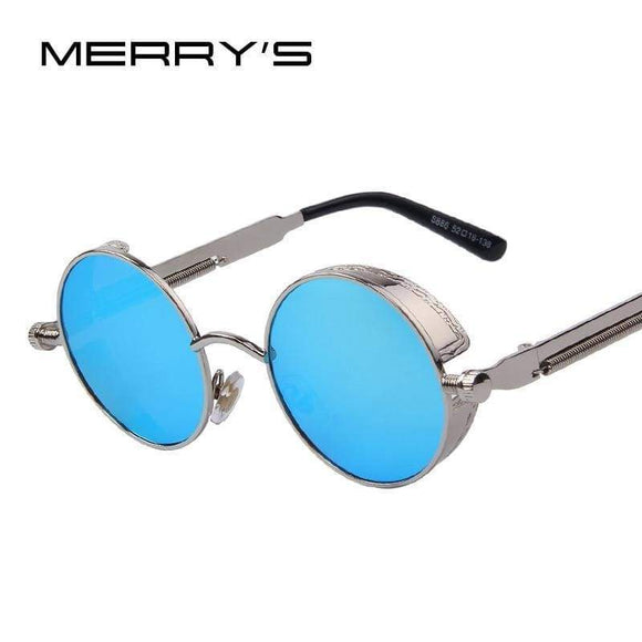 Men's Gothic Steampunk Sunglasses Coating Mirrored Round Circle Sun Glasses Retro Vintage Gafas Masculine Sol S'567 Brown Gold Blue