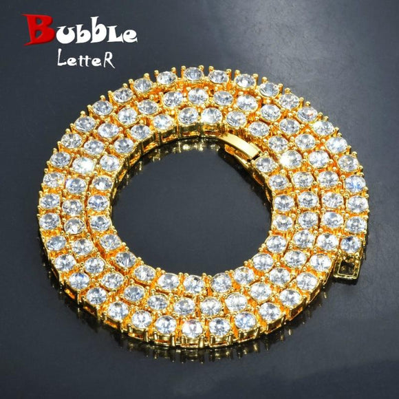 Men's Hip Hop Gold Finish 5Mm Rhinestone Tennis Link Charm Punk Jewelry Necklace Choker Long Chain 16