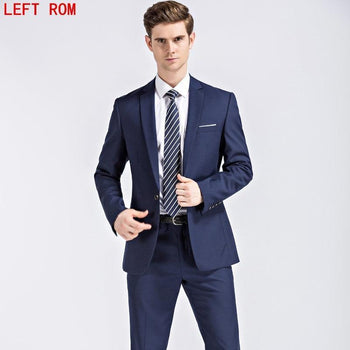 Men's Jacket & Pants Dark Blue Black Suits With Classic Wedding Business Slim Fit Party Suit Cotton Polyester