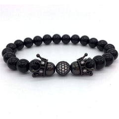 Men's Jewelry Black Color Plated Diy White Cz Ball With Crown Bracelet Stone Beads Charm Bracelets For Men - Xodeys.com