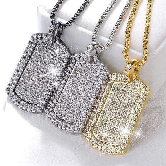 Men's Pendant Filled Iced Out Rhinestone Gold Color Charm Square Dog Tag Necklace With Cuban Chain Hip Hop Jewelry