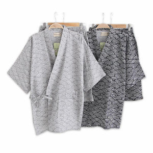 Men's Simple Wave 100% Cotton Short Pyjamas Men Sleeves Sleepwear Japanese Kimono Pajamas Sets Shorts Homewear Bathrobe Bedgown