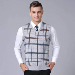 Mens Sleeveless Slim Fit Jumpers Knitting Plaid Sweaters
