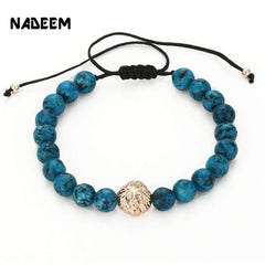 Men's Weave Knitted Design Bead Bracelet Silver Color Lion Head Charm Snowflake Stone Adjustable Macrame Braiding