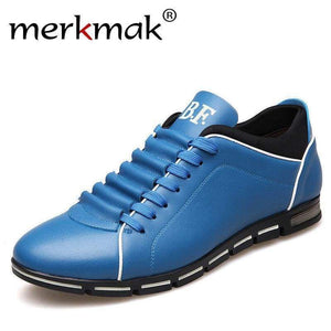 Merkmak Big Size 38-48 Men Casual Shoes Leather For Summer Men's Flat Yellow Brown Blue