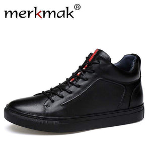 Merkmak Genuine Leather Men Waterproof Shoes Casual Sneakers Ankle Boots For High Top Winter Size 47