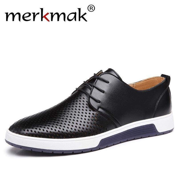 Merkmak Men Casual Shoes Leather Summer Breathable Holes Luxury Flat For Black black shoes 5.5