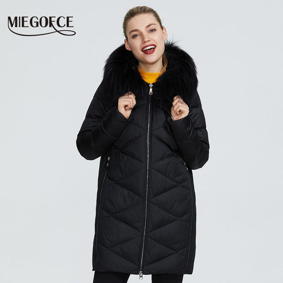 MIEGOFCE 2019 New Winter Women Collection Jacket Extraordinary Design Coat There hood with fur knee-length warm women Parka