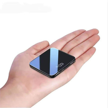 Mini Power Bank 8000Mah Thin Mirror Screen 2.1A Fast Charging 3 In1 Built-In Line Portable Charger Powerbank For Iphone Xiaomi