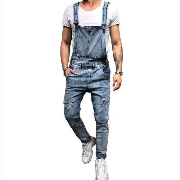 Miracle Men's Ripped Jeans Jumpsuits Hi Street Distressed Denim Bib Overalls For Men Suspender Pants Size S-Xxxl Blue