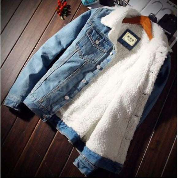 Mkass Men Jacket And Coat Trendy Warm Fleece Denim Winter Mens Jean Outwear Male Cowboy Plus Size 6Xl