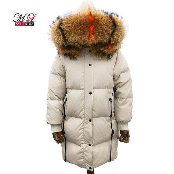 Mlinina Real Raccoon Fur Winter Jacket Women Long Parka Hooded Goose Down Coat Plus Size 3Xl Snow Wear Beige