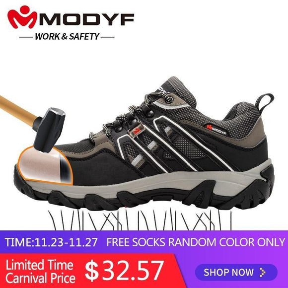 Modyf Men Steel Toe Safety Work Shoes Breathable Hiking Sneaker Multifunction Protection Footwear Black 10