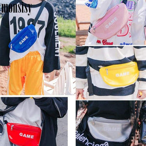 Monsisy Kid Waist Bag For Girl Boy Fanny Pack Glossy Pu Leather Chest Children Belt Money Pouch Baby Wasit