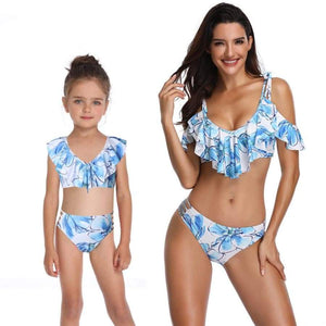 Mother Daughter Swimsuit Floral Ruffle Mom And Swimwear Bikini Set Family Look Mommy Me Bathing Suit Clothes