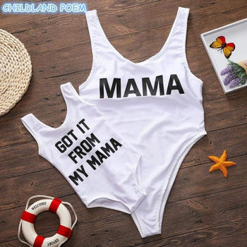 Mother Daughter Swimwear Family Look Mom And Swimsuits Letter Matching Mommy Me Bathing Suits Clothes