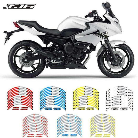 Motorcycle Front & Rear Wheels Edge Outer Rim Sticker Reflective Stripe Wheel Decals For Yamaha Xj6