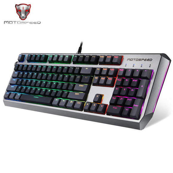 MOTOSPEED CK80 Wired Mechanical Keyboard RGB Backlight USB 2.0 PBT Keycap 104 All Key Anti-Ghosting Gaming Keyboard PK CK104 (Black)